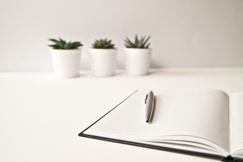 A ballpoint pen resting on an open notebook, with three plants in the background