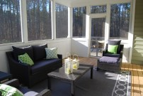 screened in porch, blue living room, sun room, house remodel