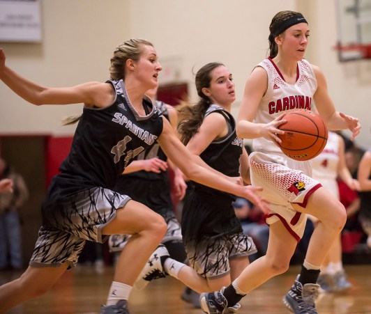 DARIN EPPERLY/DAILY NEWS -- O'NEILL -- Breanna Hedstrom of O'Neill St. Mary's races up the court as Morgan Harmon of Boyd County reaches for the ball during Tuesday night's game in O'Neill. 2-7-17