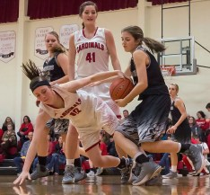 DARIN EPPERLY/DAILY NEWS -- O'NEILL -- Emma Stahlecker of Boyd County takes the ball away from Breanna Hedstrom of O'Neill St. Mary's during Tuesday night's game in O'Neill. 2-7-17