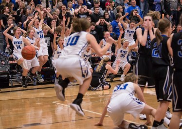 DARIN EPPERLY/DAILY NEWS -- NORFOLK -- Wynot players erupt in victory as they defeated Ponca at the buzzer during the Lewis & Clark Conference championship game on Monday night in Laurel. 2-6-17