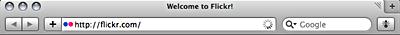 Screenshot of page load spinner in Safari 4.