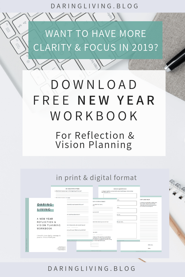 Guided reflection and vision planning writing prompts to help you manifest, prepare, and create your best year with better clarity and focus. Available for free in printable and digital versions at Daring Living | daringliving.com | Inspiring you to live life with more clarity, courage, & passion. #daringliving #newyearresolution #newyear #goalsetting #newyearreflection #journaling #writingprompts #freeworkbook #newyearplanning #freeprintable #visionplanning #lawofattraction #createyourbestlife