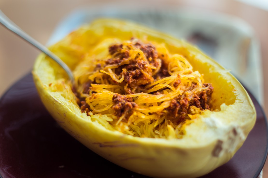 spaghetti squash with tomato sauce cooked in the microwave of our AirBnB