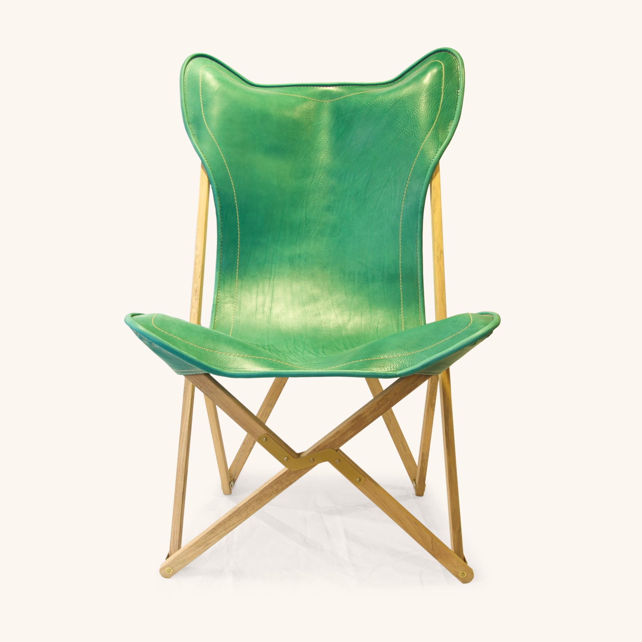 folding chair green office neck support attachment tripolina dario alfonsi in leather and teak