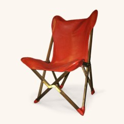 Folding Chair Leather Bouncer Baby Age Tripolina In Red And Teak Dario