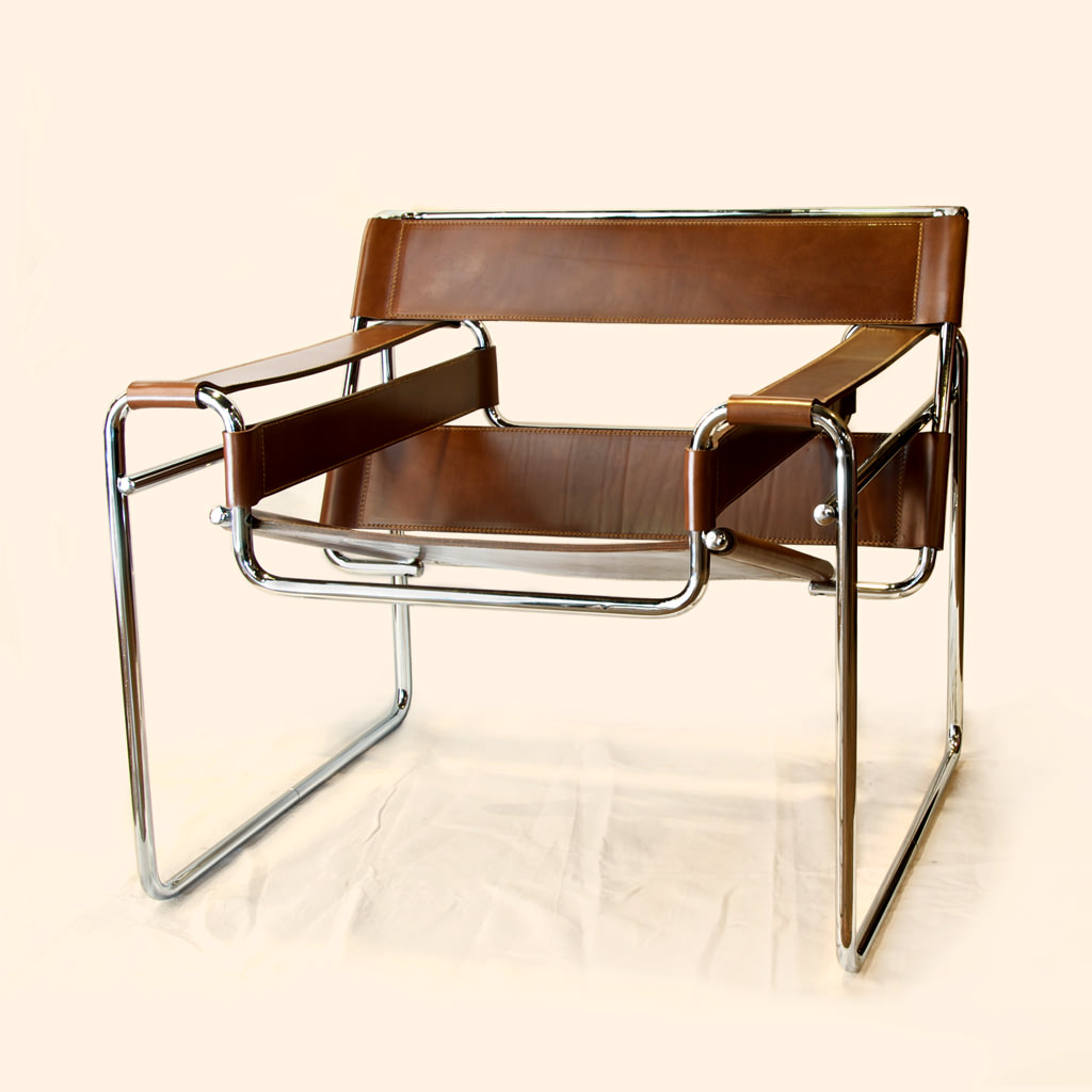Le Corbusier LC1 Basculant chair in white leather