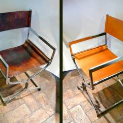 Leather Directors Chair Hide A Bed Sleeper Restoring Director S Before And After Dario Alfonsi Folding In Amber Chrome