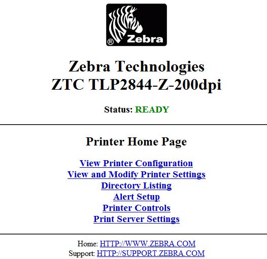 zebra technologies tlp2844 default