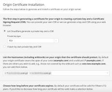 Origin Certificate create