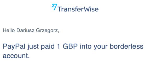 Potwierdzenie otrzymania wypłaty z PayPal na TransferWise