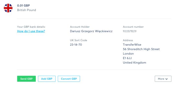 TransferWise Balances Konto GBP