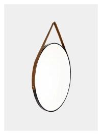 Hanging Round Mirror - Black - Tan Leather Strap  Dark Horse