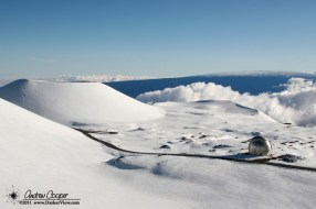 Fresh snowfall blankets the summit of Mauna Kea