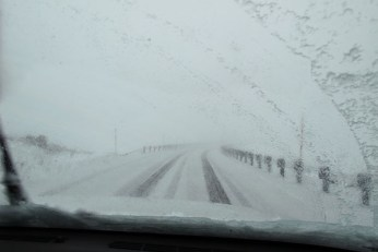 A snow covered summit road