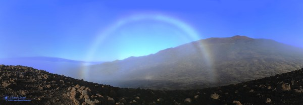 A beautiful fogbow, a glory and the spectre of the brocken on Puʻu Palaolelo