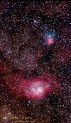 Lagoon and Trifid Nebulae