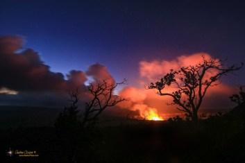 The plume of volcanic gasses from Halemaʻumaʻu