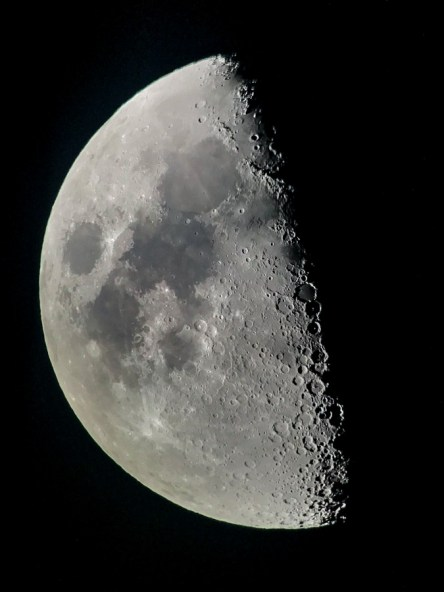 """A first quarter Moon photographed with an 8"""" telescope and an iPhone 7"""