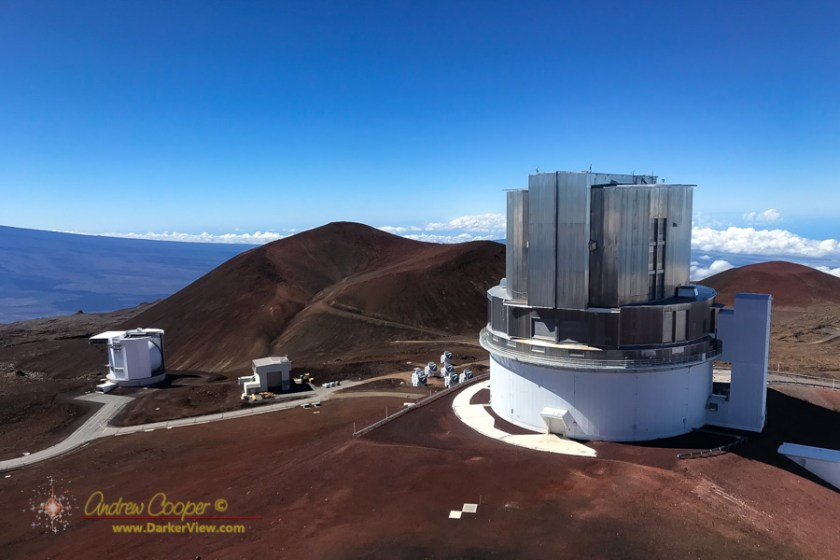 Looking down from the top of the Keck 1 dome to Subaru, SMA, and JCMT