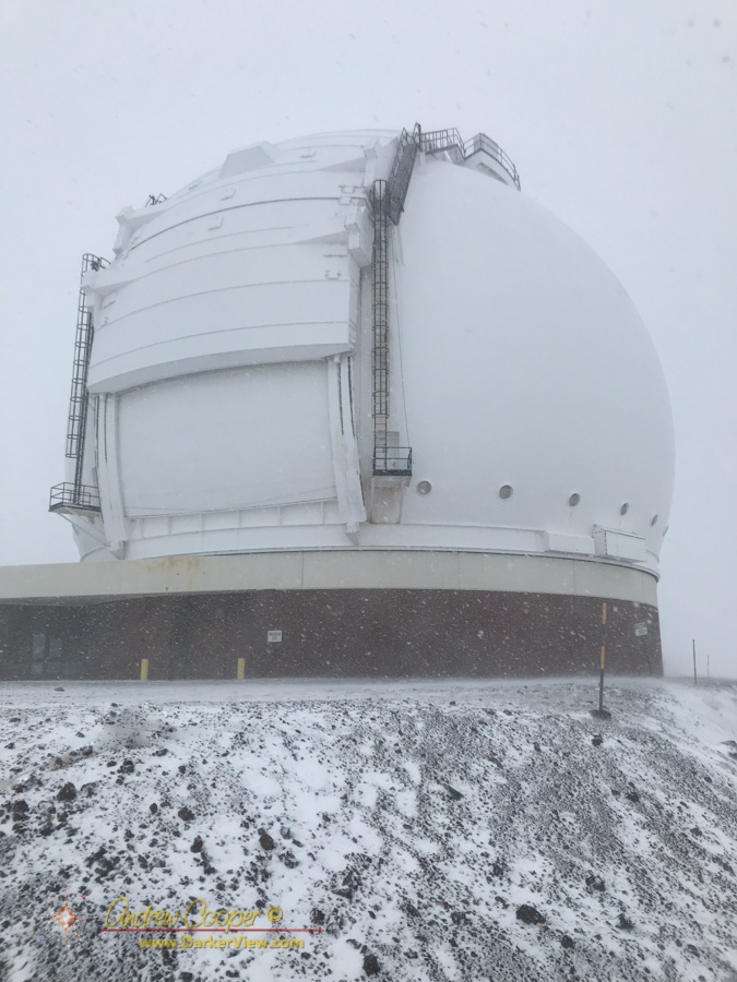 Looking up at the Keck 2 dome as we pull out in the snow