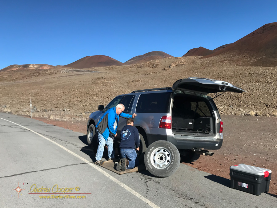 Fixing a flat tire along the Mauna Kea summit access road