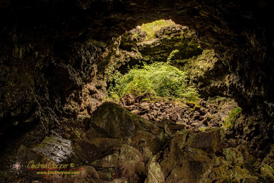 The entrance to a lava tube named Shangri-La