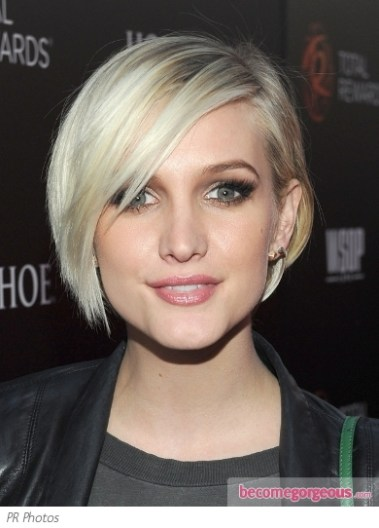 Ashlee Simpson Long Pixie To Short Bob Darkfire