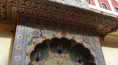 Close-up of peacock door
