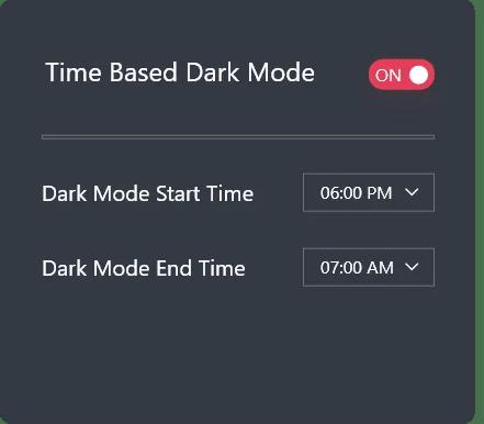 time based dark mode
