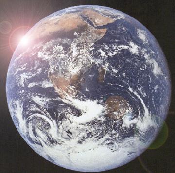 earth with sun burst
