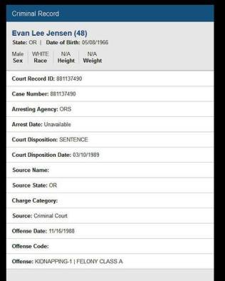 Evan Arrest Record