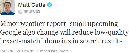 Exact Match Domain - EMD Matt Cutts tweets