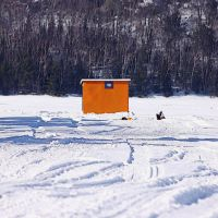 Ice Fishing Lines out on Elliot Lake