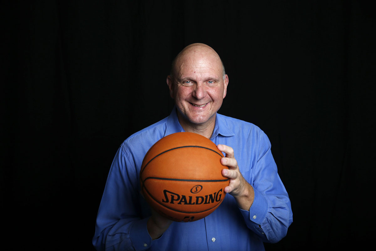 Los Angeles Clippers owner Steve Ballmer poses for a