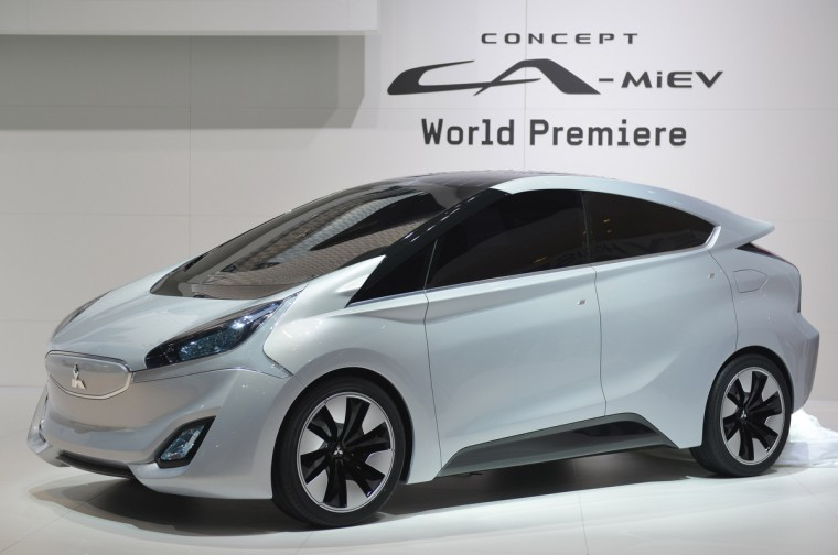 The new Mitsubishi Concept CA-MiEV Diesel Hybrid is displayed as World premiere at the Japonese carmaker's booth. (Sebastein Feval/Getty Images)