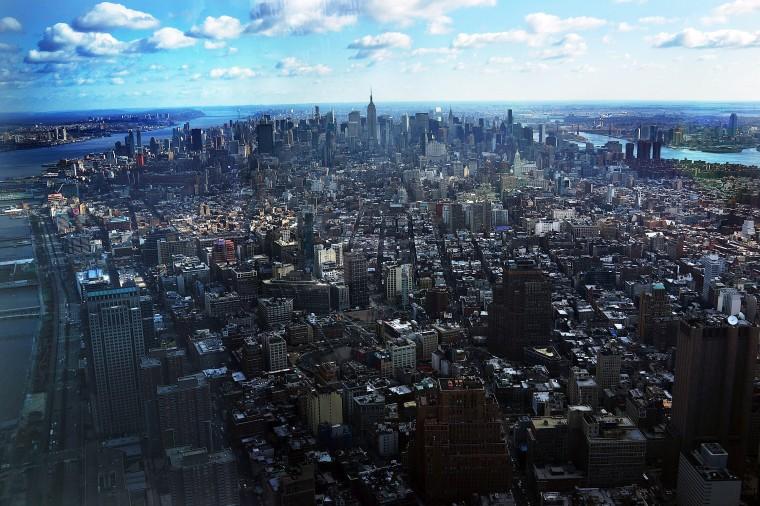 - Видел из Одного Мира обсерватория по 100-го этажа Одного Всемирного Торгового Центра. (Спенсер Платт/Getty Images)