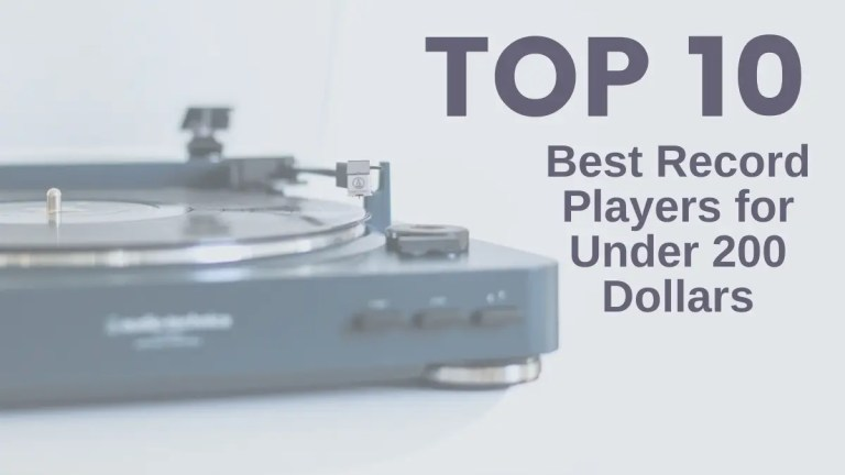 Top 10 Best Record Players for Under 200 Dollars Blue Record Player Grey Background