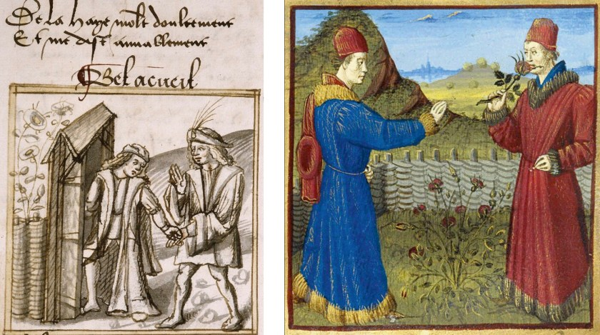 L: The Romance of the Rose (Bel Acueil, detail), Palais des Arts Lyon, Ms. 025, f. 017 R: The Romance of the Rose (Bel Acueil, detail), BNF Paris, Ms. fr 19153, f. 26