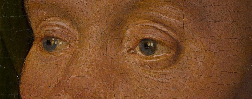 Jan van Eyck, Portrait of a Man ('Léal Souvenir')(detail eyes), 1432, National Gallery London