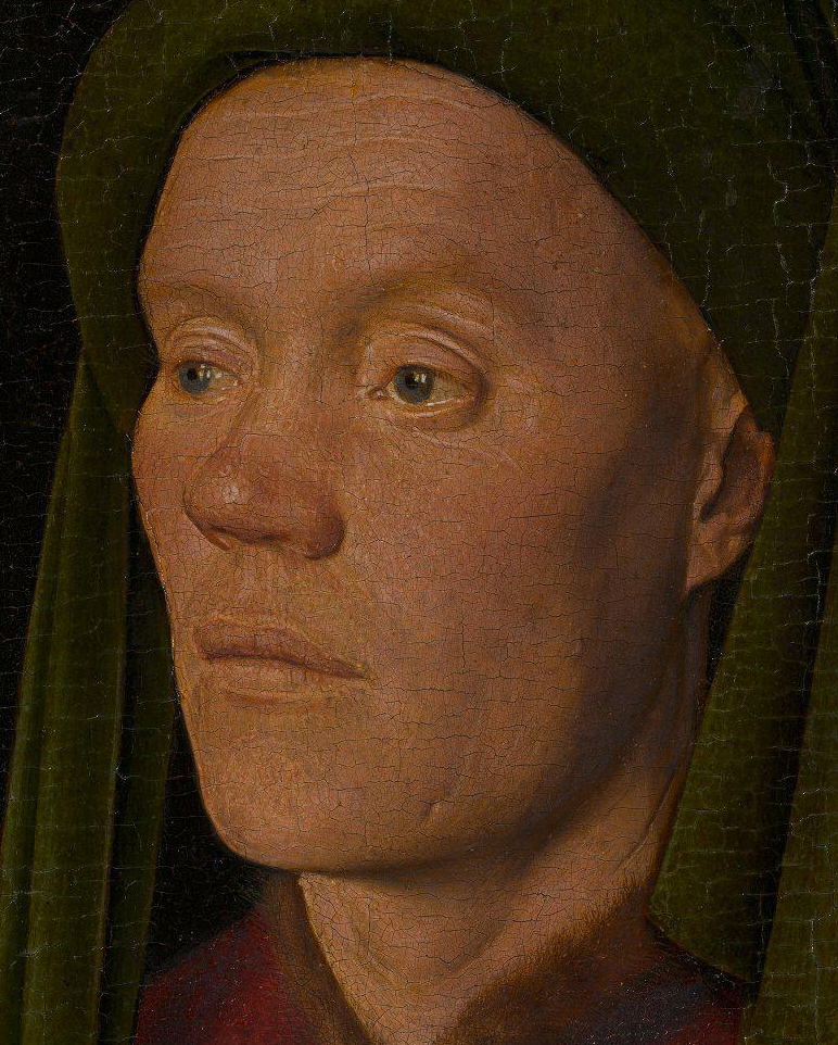 Jan van Eyck, Portrait of a Man ('Léal Souvenir') (detail face), 1432, National Gallery London