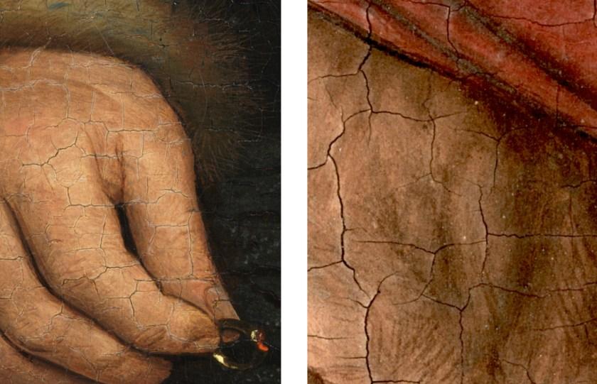 L: Jan van Eyck, Portrait of Jan de Leeuw (detail), 1436, Kunsthistorisches Museum Vienna R: Jan van Eyck, Portrait of a Man (Selfportrait?) (detail), 1433, National Gallery London