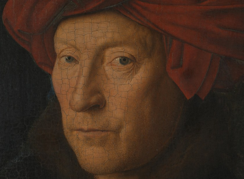 Jan van Eyck, Portrait of a Man (Selfportrait?) (detail face), 1433, National Gallery London