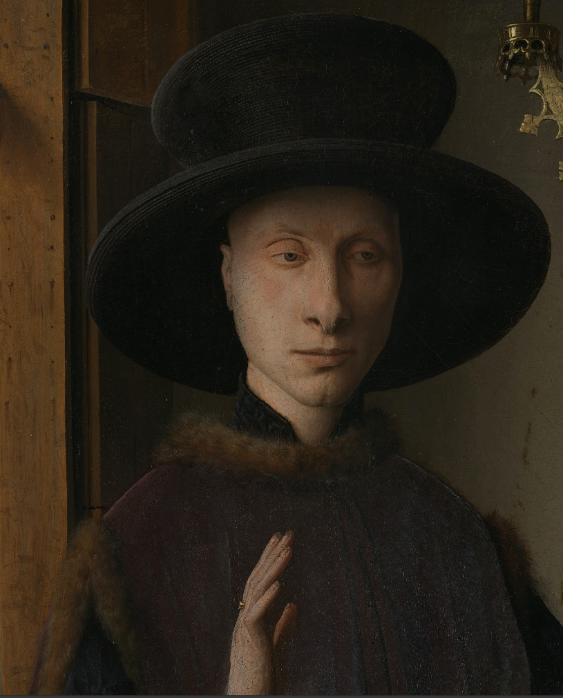 Jan van Eyck, The Arnolfini Portrait (detail hat), 1434, National Gallery London