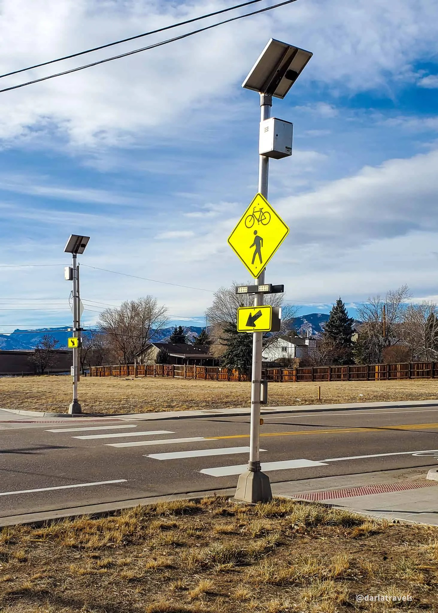 crosswalk on the Columbine Trail