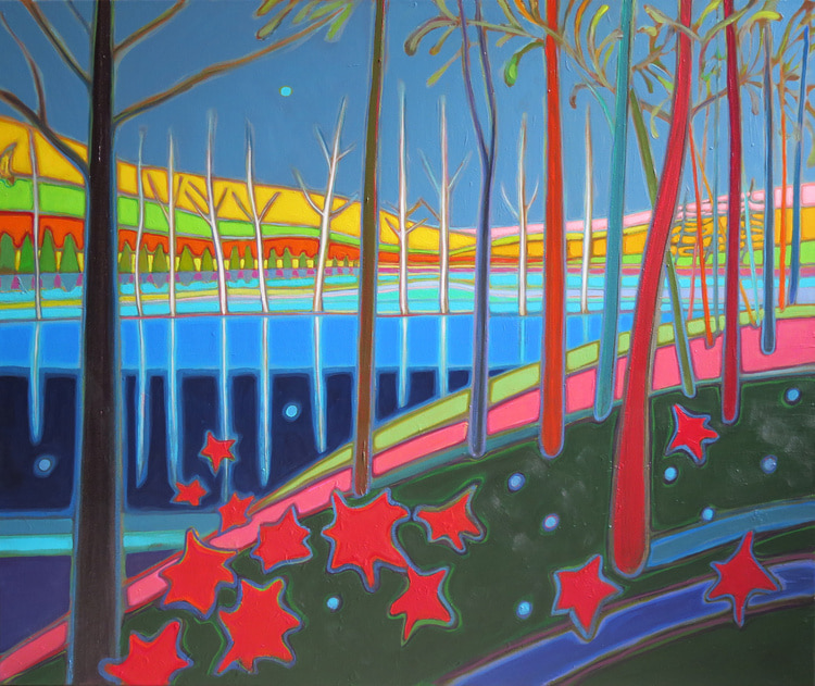 Autumn Colours - Autumn Lake Reflections with Dancing Maple Leaves 30 x 36 - Darlene Kulig