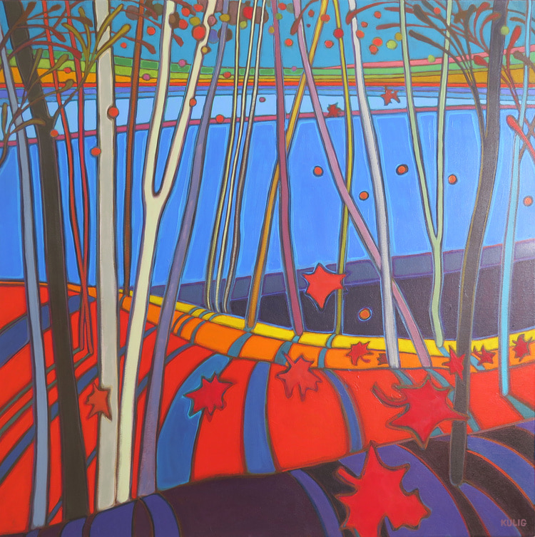 Autumn Colours - Autumn Rolling HIlls Above Doe Lake 36 x 36 - Darlene Kulig