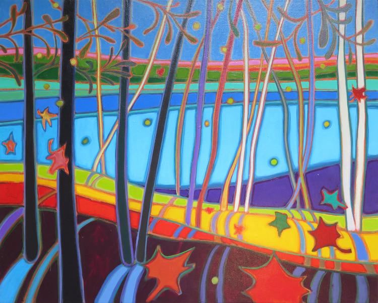 Autumn Colours - Autumn above Doe Lake 24 x 30 - Darlene Kulig