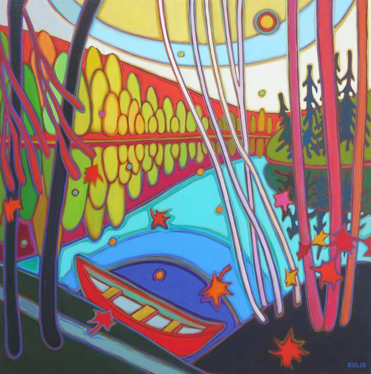 Autumn Colours - Canoe in Autumn Glow 30 x 30 - Dalene Kulig