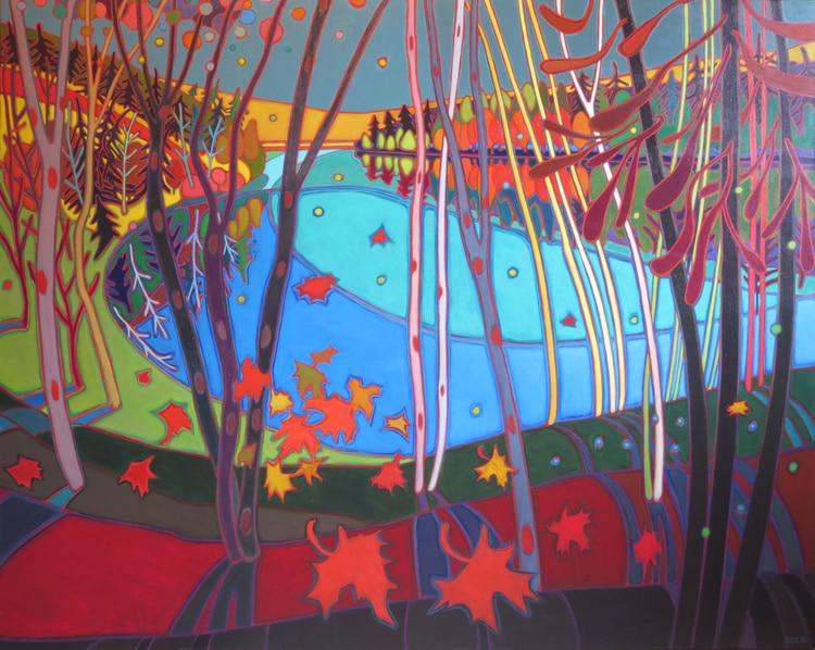 Autumn Colours - Grand Vista above Doe Lake 48 x 60 - Darlene Kulig